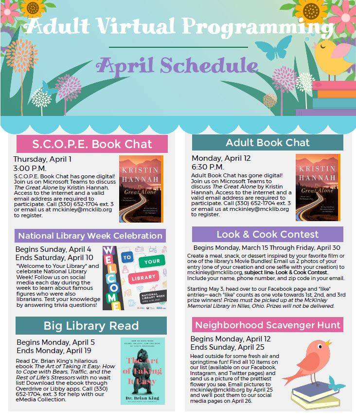 April Virtual Adult Programming Schedule
